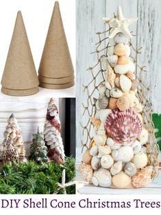 Make Beautiful Cone Seashell Christmas Trees DIY shell cone Christmas trees. Use paper mache cone to make table top Christmas trees. Featured on Completely Coastal. Seashell Christmas Ornaments, Coastal Christmas Decor, Nautical Christmas, Cone Christmas Trees, Christmas Crafts, Christmas Decorations, Cone Trees, Christmas Christmas, Coastal Decor
