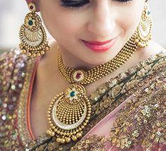 Gold Jewellery Design, Gold Jewelry, Antique Jewelry, Bridal Necklace, Wedding Jewelry, Gold Necklace, India Jewelry, Ethnic Jewelry, Manubhai Jewellers