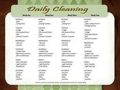 Saw this chart on pinterest not too long ago, but image was too small to print nicely, so I recreated it---gonna try to this instead of the weekly big cleaning and see how it goes! This is only 20-30 minutes per day :)