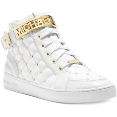 MICHAEL Michael Kors Essex High Top Sneakers ($195) found on Polyvore featuring shoes, sneakers, lace up sneakers, high top sneakers, hi tops, michael kors high tops and leather shoes