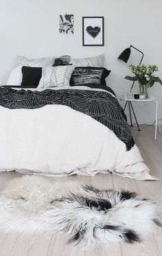 chic black and white bedroom decor, edgy apartment decor
