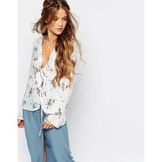 Honey Punch Boho Festival Blouse With Tie Front And Flared Sleeves In... ($49) ❤ liked on Polyvore featuring tops, blouses, cream, flower print blouse, floral print tops, rayon tops, floral print blouse and boho tops