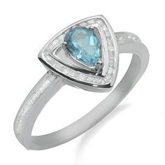 Diamonds are in clarity and H in color. Blue topaz weighs a total of. Blue Topaz Diamond, Diamond Gemstone, Diamond Rings, Gemstone Rings, Triangle Shape, White Gold Rings, Ring Earrings, Ring Sizes, Engagement Rings