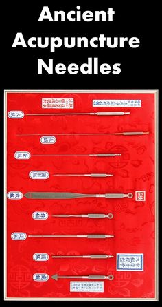 Nine types of acupuncture needles are described in Lingshu (Miraculous Pivot) , namely, filiform needle, shear needle,round-pointed needle, spoon needle, lance needle,round-sharp needle, stiletto needle, long needle and big needle. http://www.acupuncturemoxibustion.com/acupuncture/nine-classical-needles/