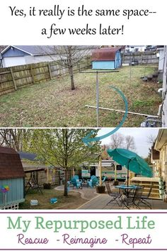 Giving a backyard a makeover making the perfect guest space and backyard camper retreat! Fire pit, patio and porch installation round out the new projects. Outdoor Tools, Outdoor Projects, Outdoor Spaces, Outdoor Living, Outdoor Decor, Diy Projects, Recycling Projects, Garden Projects, Garden Ideas
