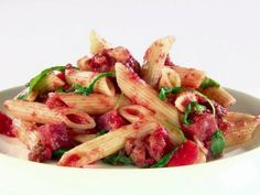 Get Penne with Roasted Vegetables and Prosciutto Recipe from Food Network