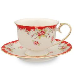 The lovely 7oz Vintage Red Roses teacups and saucer are crafted out of fine porcelain and trimmed with 24K gold, hand wash only.