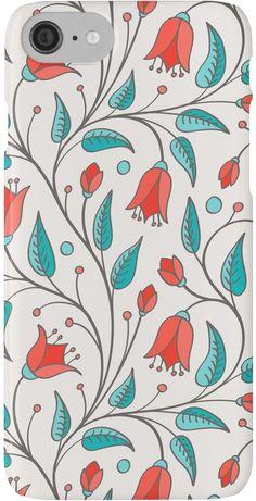 Bright orange-red bellflowers in seamless pattern by Slanapotam