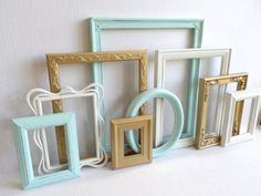 Picture Frame Collection  Set of 9  Vintage by MollyMcShabby