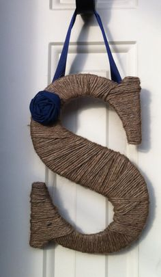 Twine wrapped rustic monogram door hanger, Etsy.
