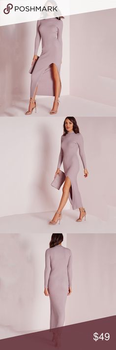 """Misguided Dusty Rose Slit Mock Neck Sweater Dress be a total dream in this lust-worthy knitted maxi dress with a ribbed finish for a super flattering fit. in a feminine mauve and high neck style and sexy split up the front, this is definitely a must have for every girl and we think it'll go great with some comfy heeled sandals and shoulder bag for a super chic finish.  • approx length 56""""  • 100% viscose • size 2 (US) • new with tags and never worn misguided Dresses Midi"""