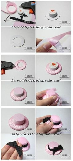 ATELIER CHERRY: Chapeu para bonecas (cardboard circle + bottle cap + fabric & ribbons)