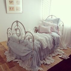 Bed of the Month is a feature we're absolutely crazy about! Every month, our stores submit a bevy of eclectic and ever-elegant ensembles c. Bedroom Reading Nooks, Wrought Iron Beds, Pink Bedding, Luxury Bedding, Shabby Chic Style, Chabby Chic, Little Girl Rooms, Shabby Vintage, Room Themes