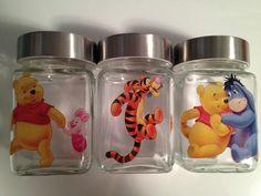 Winnie The Pooh Baby Nursery Jars Tigger Piglet Jars Baby Decor Baby Shower Apothecary Jars Gift Jar Birthday Party Candy Decor by TheFlyingBlueMonkey on Etsy