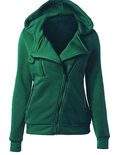 Keaac Womens Casual Slim Fit Oblique Zipper Up Hoodie Jacket Coat Army Green XS