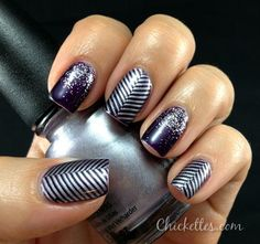 Gelish Nail Art - Zig Zag and Glitter