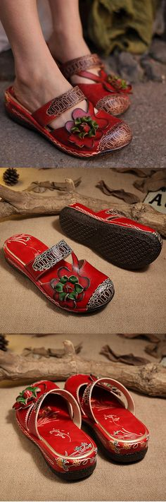 US$48.68 SOCOFY Red Flower Print Soft Learher Platform Lazy Shoes
