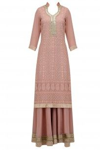 Nude Lucknowi and Mirror Work Kurta and Sharara Pants Set