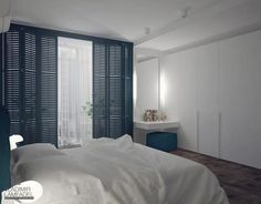 Интерьер спальни, сине-белая спальня фото, большой шкаф-купе в спальне