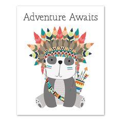 Creative and fun nursery decor by Artsy Pumpkin. Tribal Nursery, Bear Nursery, Nursery Art, Nursery Decor, Tribal Bear, Tribal Animals, Baby Canvas, Baby Posters, Hippie Art