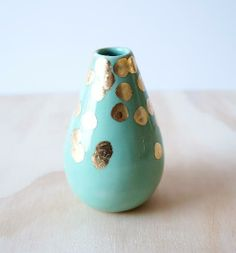 Mint + Gold Teardrop Vase >><<  BY THE OBJECT ENTHUSIAST AT BRIKA