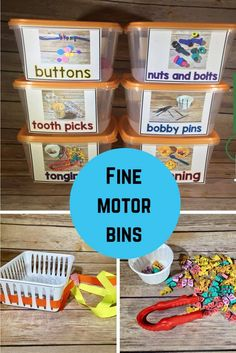 This unit includes 36 bin ideas with picture cards to be attached to the bins. Label the bins and let your students have fun growing their fine motor skills. Preschool Fine Motor Skills, Fine Motor Activities For Kids, Motor Skills Activities, Gross Motor Skills, Sensory Activities, Preschool Activities, Preschool Plans, Cutting Activities, Preschool Centers