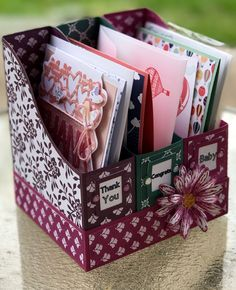 A2-Card Holder Stampin'Up! (PDF) I hope you enjoy making this adorable A2-Magazine card holder.  Click the link above for a free PDF download.  I used 80lbs Stampin' Up! Berry Burst &am…
