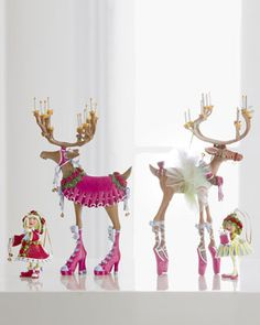 """""""Donna"""" & """"Dancer"""" Reindeer Figures & Elf Ornaments by Patience Brewster at Horchow."""