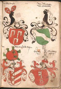 Wernigeroder (Schaffhausensches) Wappenbuch Süddeutschland, 4. Viertel 15. Jh. Cod.icon. 308 n  Folio 117r