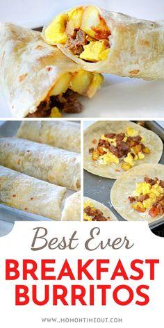Make Ahead Breakfast Burritos, Bacon Breakfast, Breakfast Items, Perfect Breakfast, Breakfast Dishes, Breakfast Casserole, Breakfast Recipes, Brunch Recipes, Dinner Recipes