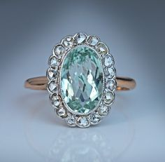Vintage Aquamarine and Diamond Cluster Ring by RomanovRussiacom