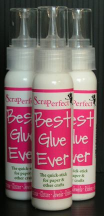 Best Glue Ever $7.49 for one 2 oz bottle purchase at scraperfect.com; is used to make DIY glue dots...see video on same website.