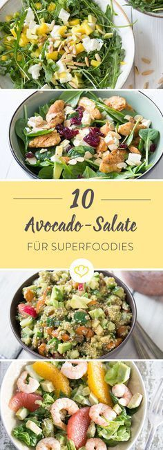 15 refined avocado salads that are made very quickly- 15 raffinierte Avocado-Salate, die ganz schnell gemacht sind Do you love avocado and really fancy a salad? The solution: Acocado salad. Here& 15 quick variations for real avocado fans. Healthy Snacks, Healthy Eating, Healthy Recipes, Healthy Dinners, Avocado Dessert, Avocado Salat, Avocado Superfood, Salud Natural, How To Make Salad