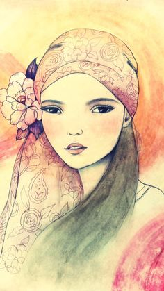 Girl with pink bandana art print by claudiatremblay on Etsy