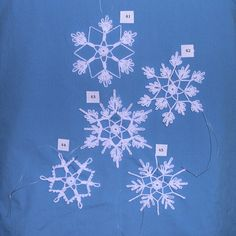 Do you like to crochet? Do you like giving gifts to friends and family that you have made yourself? You will enjoy trying these patterns out. These beautiful snowflakes make great decorations and beautiful gifts. What you will receive are original patterns, created by Peg, for 5