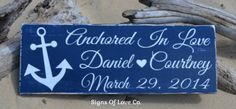 Anchored In Love Beach Wedding Sign Personalized Navy Blue Gray Jade Mint Teal Coral Pink Light Blue Custom Anchor Décor Signs Beach Wedding Gift #anchoredinlove #anchorwedding