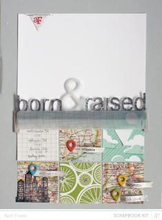 Born & Raised *scrapbook kit only* by April Foster at Studio Calico using the Block Party scrapbook kit and add ons