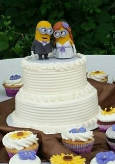 Minion wedding cake topper - 3d printed full color sandstone figurines