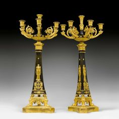 """PAIR OF CANDELABRAS """"A L'ANTIQUE"""", Empire, Paris ca. Gilt and burnished bronze. 6 curved light branches with vase-shaped nozzles and round drip pans. Gilt mounts and applications. H cm. Sold for CHF 27 500 (hammer price) Lighted Branches, French Empire, Paris, Candlesticks, 19th Century, Drip Pans, Art Deco, Bronze, Vase"""