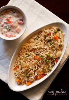 veg pulao recipe with step by step photos. veg pulao is a comfort food as well as satisfying. pair this mildly flavored aromatic veg pulao with a raita, pickle and roasted papad and you don't need any Indian Food Recipes, Healthy Dinner Recipes, Vegetarian Recipes, Cooking Recipes, Cooking Videos, Cooking Tips, Dahi Vada Recipe, Biryani Recipe, Pulao Recipe Indian
