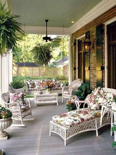 Love the wide porch with outside furniture!