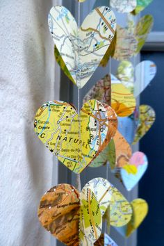 Ready to ship, SALE Paper Garland, Hearts Of The World, Heart Garland, Wedding garland, Ready to Ship