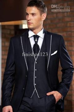 Custom Made Navy Blue Groom Tuxedos Groomsmen Men&039;s Wedding Suits Best man Suits (Jacket+Pants+Vest+Tie) BM:936