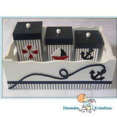 marinheiro Diy Baby Gifts, Gifts For Kids, Sailor Baby, Kit Bebe, Wedding Bottles, Baby Favors, Decoupage Box, Baby Kit, Pretty Box