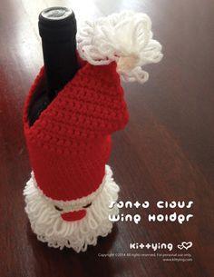 Crochet Pattern Santa Claus Wine Holder - This crochet pattern is designed for standard wine bottle size. Easily modified for wider or taller bottle