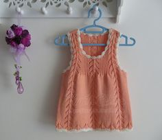 Cute peach girls knit dress step-by-step