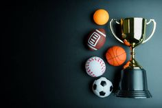 golden trophy football toy baseball toy ping pong ball basketball toy