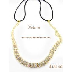 Diadema para cabello en color dorado con cristales en tono tornasol estilo 23012