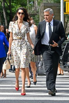 George and Amal Clooney Look So in Love While Holding Hands at the UN General Assembly High Street Fashion, Fashion In, Fashion Couple, Fashion Outfits, Womens Fashion, Office Dresses For Women, Formal Dresses For Teens, Amal Clooney, George Clooney
