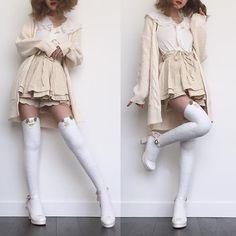 Went for a sort of a mori-gyaru look today. Went for a sort of a mori-gyaru look today. Harajuku Fashion, Kawaii Fashion, Lolita Fashion, Cute Fashion, Fashion Outfits, Gyaru, Aesthetic Fashion, Aesthetic Clothes, Japanese Fashion
